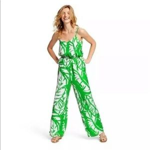Lilly Pulitzer Target Palm Leaf Green Jumpsuit M